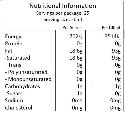 Melrose MCT Oil - Pro Plus 500ml - Nutritional Info