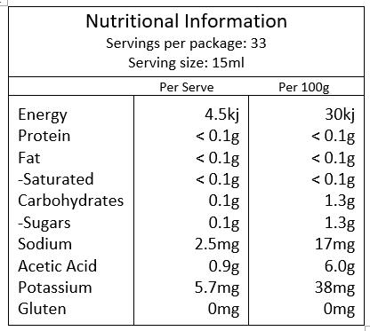 Melrose Organic Apple Cider Vinegar 500ml - Nutritional Info