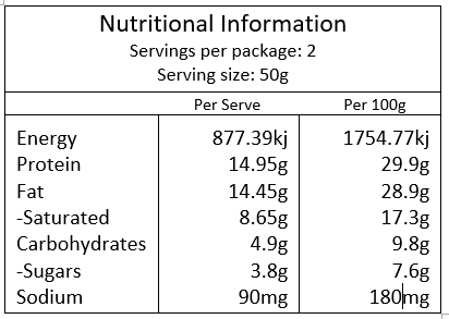 Choc Bar Block 100g Nutritional Info