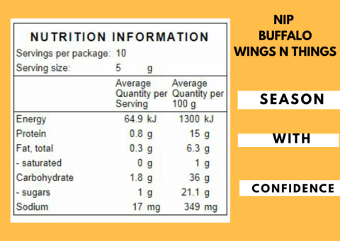 Buffalo Wings-N-Things Nutritional